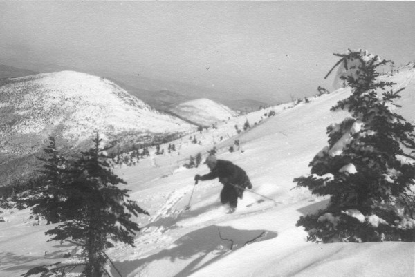 Amos Winter skiing the snowfields at Sugarloaf