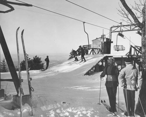 Pleasant Mountain circa 1953 - first chairlift installed in Maine